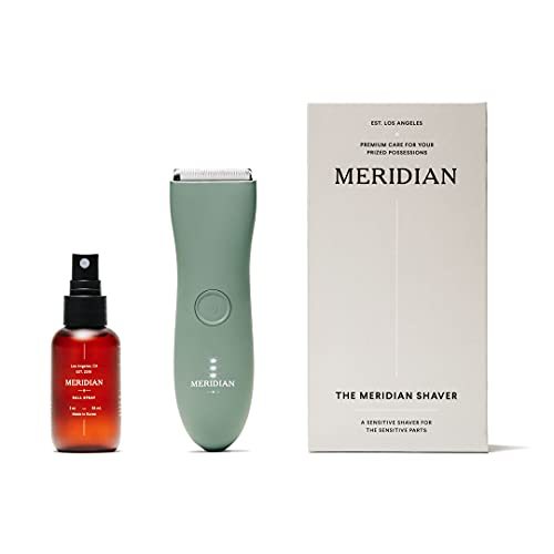 The Complete Package by Meridian: Includes Men's Waterproof Electric Below-The-Belt Trimmer and The Spray (50 mL) | Features Ceramic Blades and Sensitive Shave Tech (Sage)