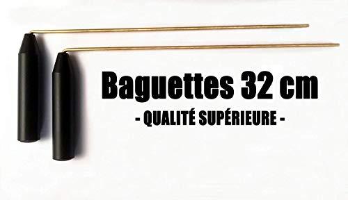 Baguettes parallèles de sourcier Haute QUALITÉ, Poignées Larges et Confortables, Tiges Longues 31cm en Laiton 4 millimètres, Longueur Totale 32cm
