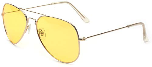 Outray Mens or Womens Night Vision Glasses For Driving Aviator Polarized Sunglasses Gold Yellow