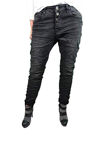 Karostar Stretch Jeans| im Baggy Boyfriend Schnitt| Damen Hose mit dekorativer Knopfleiste| Perfekter Sitz Washed Black M