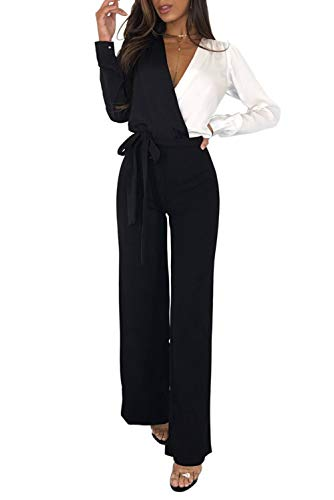 MASHIKOU Overall Damen elegant festlich Asymmetrischer Langarm V-Ausschnitt Belted Lang Breites Bein Hoher Taille Party Hose Jumpsuit Playsuits Herbst Winter (Schwarz Weiß, X-Large)