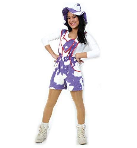 KarnevalsTeufel Damenkostüm Kuh in weiß-lila Kurze Latzhose (38)