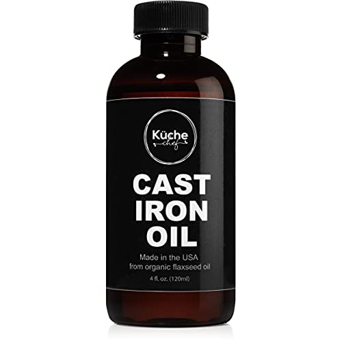 Organic Cast Iron Oil & Cast Iron Conditioner (4 oz) - Made from Flaxseed Oil grown and pressed in the USA - Creates a Non-Stick Seasoning on All Cast Iron Cookware