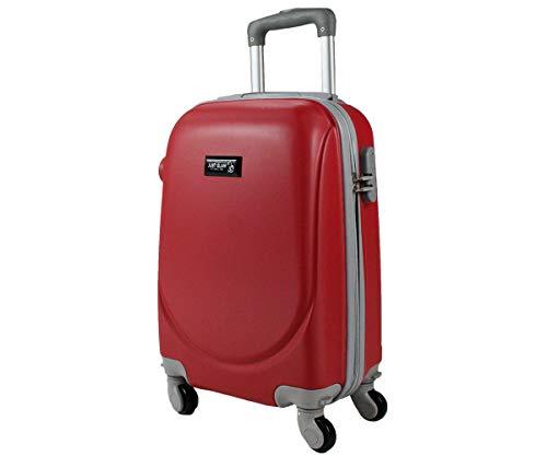 Trolley da cabina bagaglio a mano cm.50 valigia rigida 4 ruote in abs policarbonato antigraffio e impermeabile compatibile voli lowcost come Easyjet Rayanair art 6802 / piccola rosso