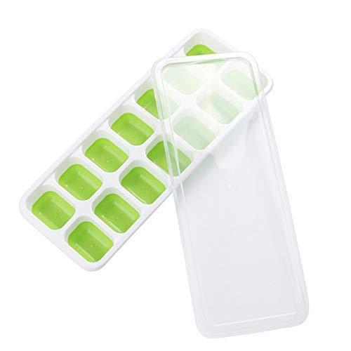 Molde de silicona para cubitos de hielo de 14 rejillas Molde para helado de fácil liberación, apto para lavavajillas, bandeja de hielo de color verde con tapa para whisky, bebida fría (Color: Verde)