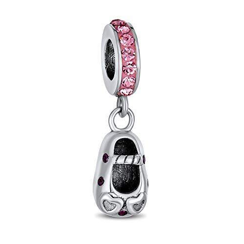Personalizado rosa cristal zapato dangle encanto encanto para la nueva madre de...