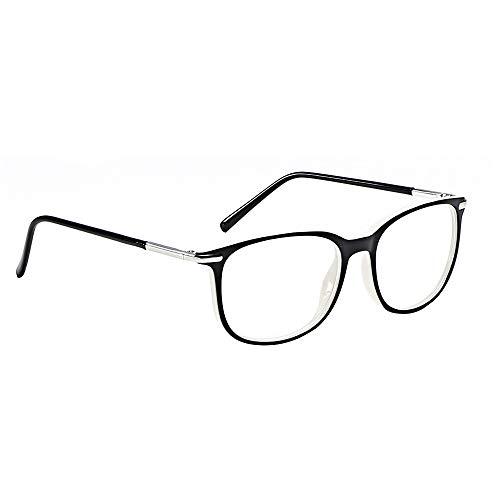 YINSONG Retro Brille Ohne Sehstärke - Mode Damen Herren Brillengestell Transparente Linse Ohne Sehstärke Brillen, Außen schwarz innen weiß