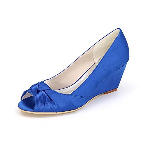 Zapatos De Novia De Satén con Punta Abierta para Novia Zapatos Cómodos...