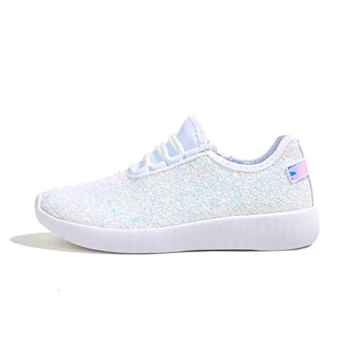 ROXY ROSE Women Fashion Jogger Sneaker - Lightweight Glitter Quilted Lace Up Shoes & Elastic Tongue (White,9 B(M) US)