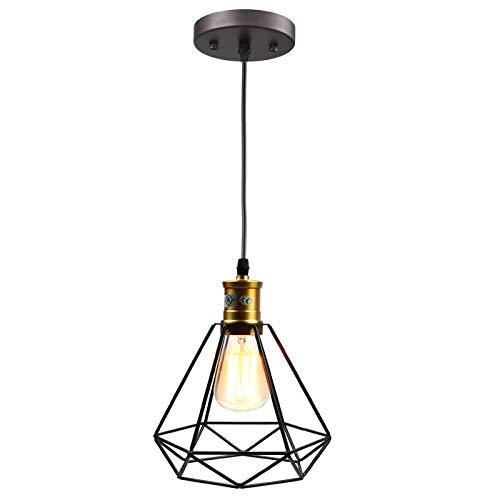 pauwer alambre colgante Iluminación de la Industria Vintage Edison–Lámpara de techo jaula sombra, Negro 60.00W 220.00V