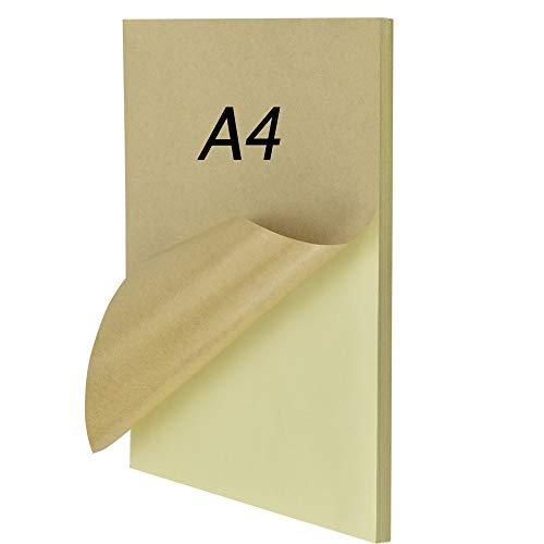 CODIRATO 50 Hojas Papel Kraft Autoadhesivo A4 Etiqueta Kraft Papel Autoadhesiva Kraft Pegatina Papel Impresión Marrón Copia Papel para Impresora Láser de Inyección de Tinta