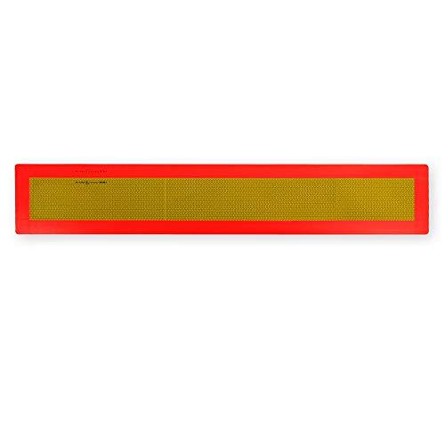 Achterwaarschuwingsbord voor aanhangers en opleggers ECE 70.01 - op aluminium plaat - lang (1130 x 195 mm) - geel reflecterend en rood fluorescerend
