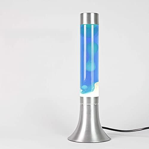 Lámpara de lava clásica'Yvonne' en blanco - azul / 38 cm de altura/con interruptor de cable/con lámpara incluida/lámpara de lava para unas horas maravillosas, con conmutador de cable