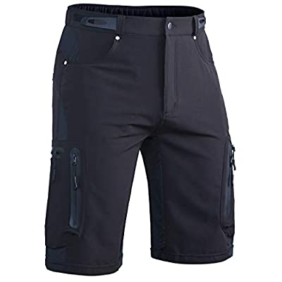 "Hiauspor Men's Mountain Bike Shorts Stretch MTB Shorts Quick Dry with Zipper Pockets (Black01, L (Waist: 32-34"" Hip: 36.5-38.5""))"