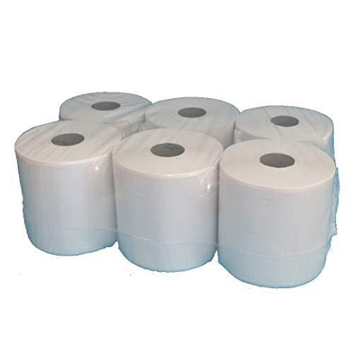 6 Handtuchrollen Papierhandtuchrollen Papierrollen MIDI Rollen 2-lagig Tissue Hochweiß 20cm breit 140m unperforiert Außenabrollung (Autocut)
