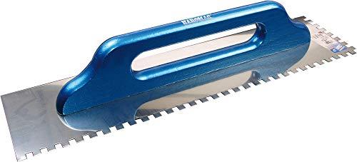 Haromac, Cazzuola, 10 x 10 mm, dentata, antiruggine, 500 x 130 mm con manico in legno, 10551010