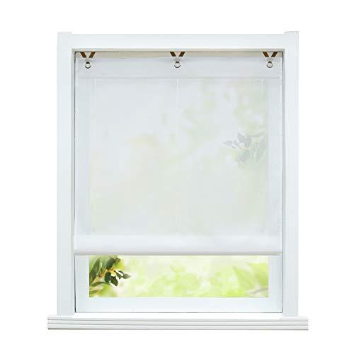 ESLIR Raffrollo ohne Bohren Raffgardine Transparent mit Ösen Farbverlauf Gardinen mit Haken Ösenrollo Modern Vorhänge Weiß BxH 80x130cm 1 Stück