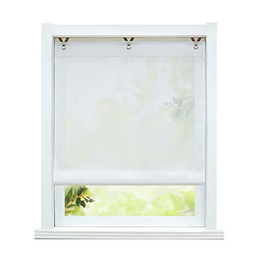 ESLIR Raffrollo ohne Bohren Raffgardine Transparent mit Ösen Farbverlauf Gardinen mit Haken Ösenrollo Modern Vorhänge Weiß BxH 100x130cm 1 Stück