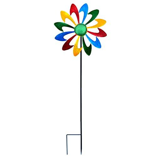 HJHIWE Molinillo de jardín de 11.4 pulgadas, colorido molino de viento de césped con estacas de metal, construcción vertical de escultura de metal para jardín, fiesta, exterior, patio, decoración