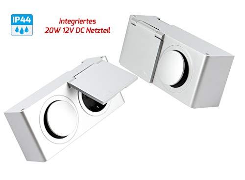 Preisvergleich Produktbild Aufbau Möbel Steckdose mit Schalter 12 Volt für Beleuchtung / Art.4207 / Energiebox Spiegelschrank Kombi-Box