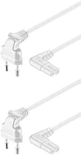 2er Set WireThinX Euro-Netzkabel, Netzstecker an Euro 8 Buchse, beidseitig 90° abgewinkelt, weiß, 5,0 m