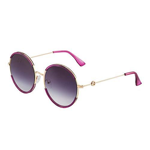 XINMAN Personalidad Marco Redondo Retro Sombrilla Gafas De Sol Señoras Retro Gafas De Sol Polarizadas Moda A Prueba De Viento Gafas UV Marco De Oro Púrpura Lente Shuanghui