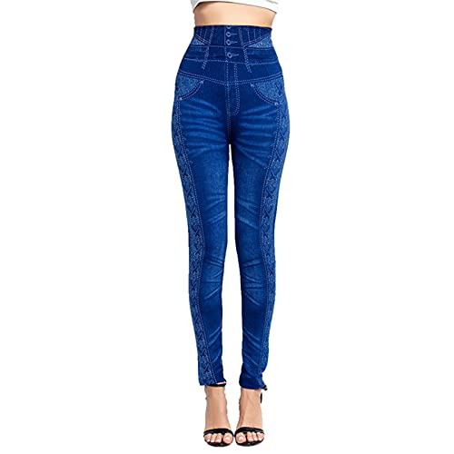 QWERBAM Leggings Plus Tize Jeggings Imprimir Mockets Mockets Slim Jeans Leggings Ladies Planchas Pantalones (Color : C Blue, Size : L.)