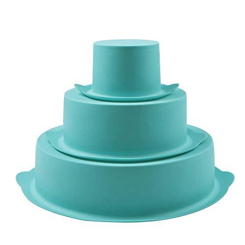 Webake Moldes de Silicona para Reposteria Molde de Silicona Triple en Formas Redondas Molde de Silicona para Tartas para Fiesta de Cumpleaños Aniversario de Boda