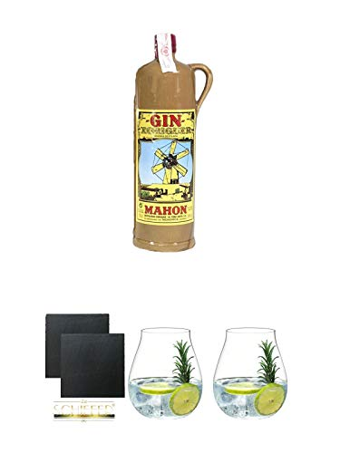 Gin Xoriguer KERAMIKFLASCHE Mahon Gin 0,7 Liter + Schiefer Glasuntersetzer eckig ca. 9,5 cm Ø 2 Stück + Gin Tonic Glas - 5414/67 + Gin Tonic Glas - 5414/67