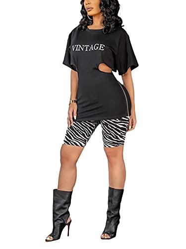 DELIMALI Conjunto de ropa para mujer, cintura sexy con estampado de letras y pantalones cortos de cebra