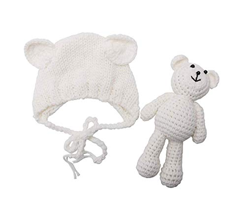 Matissa Neugeborenes Baby häkeln Strick Kostüm Fotografie Prop Baby Bär Hut und Puppe Set (Weiß)