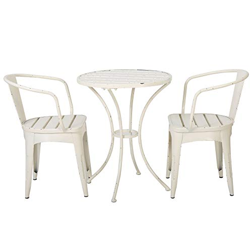 3-Piece White Weathered Contemporary Outdoor Furniture Patio Bistro Set