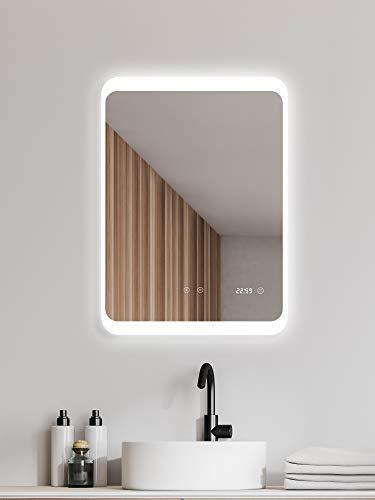 ALLDREI Antibeschlag Badspiegel mit Beleuchtung –AD035A Badezimmerspiegel LED Licht, Touch Schalter – Senkrecht Montage 60 x 80 cm, Wasserdicth IP44, Weiß, Lumen 1728, Energieklasse A+