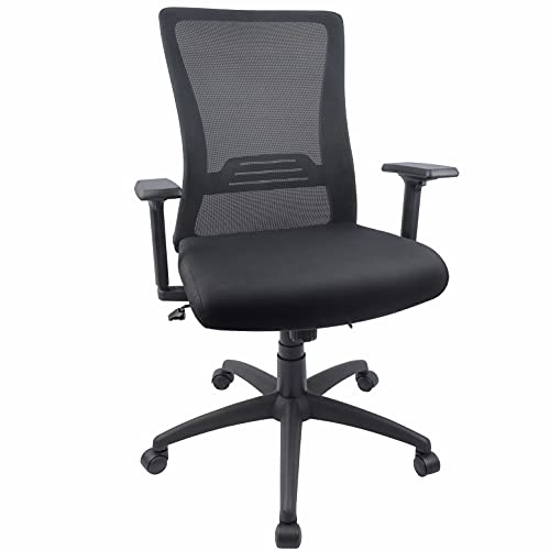 Black ergonomic chair with wheels for moving around while sewing