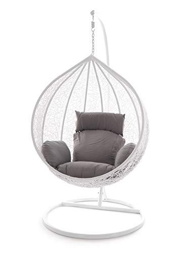 Kideo Swing Chair Hängesessel Hängestuhl Polyrattan Schwebesitz Loungesessel (grau)