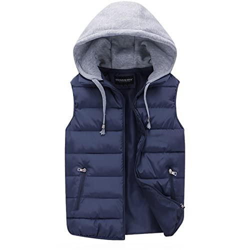 Sxygzmd-Hg Chaleco con capucha ligero acolchado para el cuerpo, abrigo acolchado sin mangas, para exteriores, azul, 4XL