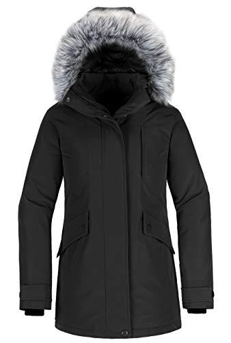 Wantdo Women's Down Jacket Mid Length Hooded Windproof Warm Winter Coat Black M
