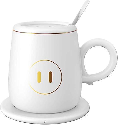 Posavasos De Calentamiento Constante de la Temperatura de calefacción Coaster USB de Carga inalámbrica for el Ministerio del Interior Se Utiliza for calefacción Café Leche Té Agua (Color : White)