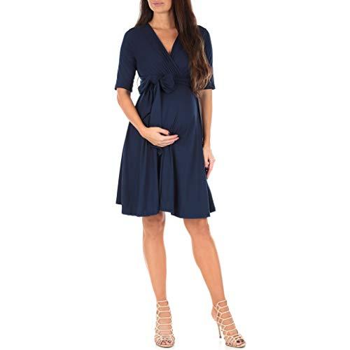 Mother Bee Maternity Women's Knee Length Wrap Dress with Belt Navy