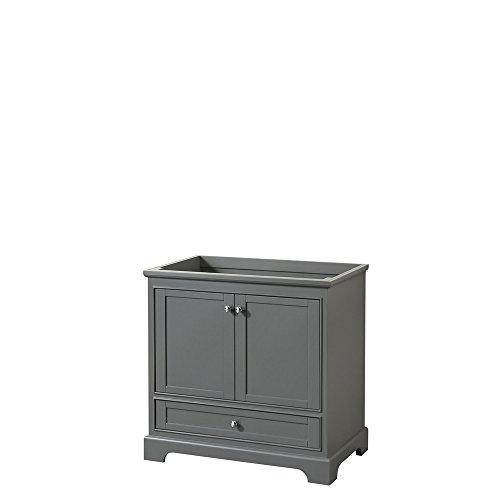 Wyndham Collection Deborah 36 inch Single Bathroom Vanity in Dark Gray, No Countertop, No Sink, and No Mirror