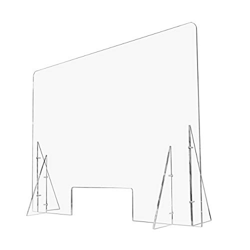 """AMT SNEEZE GUARD 48""""W x 35.5""""H, Clear Desktop Protection Barrier, Thick Acrylic Cover, Portable for Desk, Table Countertops, Protection Shield for Employees, Worker&Customer, Desk Shield (3/8"""" Thick)"""