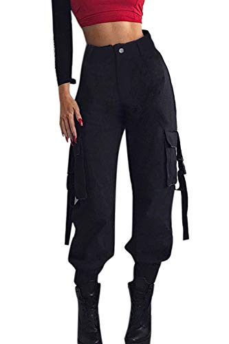 YACUN Damen Cargohose Casual lässige Hose Outdoor Rangerhose Jogger Mitte Taille Laufend Sweatpants Mit Taschen Jogginghose Schwarz L