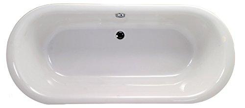 'aquaSu® Acryl-Duobadewanne Ovo Solo | Große Badewanne | Freistehend | 180 x 80 cm | Weiß | Wanne | Badewanne | Bad | Badezimmer | Acryl Komfort