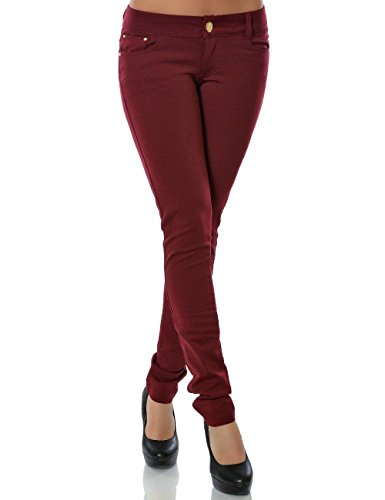 Daleus Damen Hose Treggings Skinny Röhre No 13011, Bordeaux , 36
