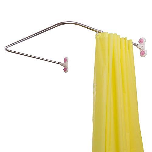 Amayay Badezimmer Duschvorhangstange Corner Curved Duschstange Edelstahl Pole Badewanne Dusche Vorhangstange Einfacher Stil Schiene Bar (Elfenbein 115 5Cm) (Color : Colour, Size : U-Form. 98X102)