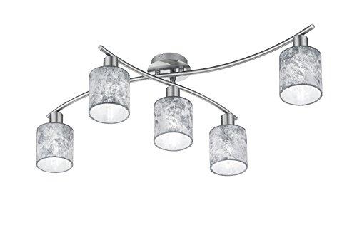 Trio Leuchten Deckenleuchte Garda, 605400589 Nickel matt, E14, Stoffschirm Silberfarbig, 44.2 x 75 x 22cm