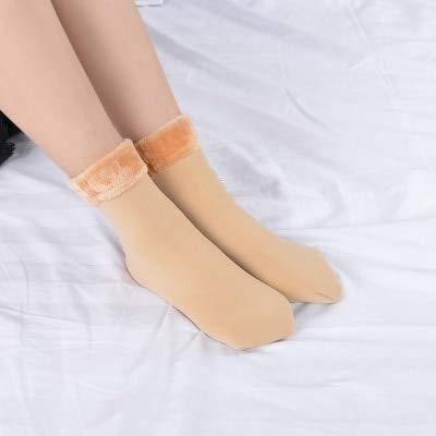 2 Pares de Calcetines de Nieve cálidos Gruesos para Mujer cálidos de Invierno Botas de Terciopelo sin Costuras Calcetines de Hombre para el Piso-Khaki
