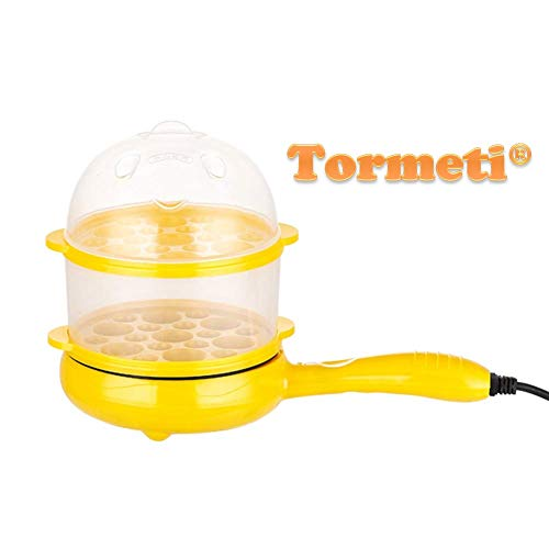 Tormeti Multifunctional 2 in 1 Electric Egg Boiling Steamer Egg Frying Pan Egg Boiler Electric Automatic Off with Egg Boiler Machine Non-Stick Electric Egg Frying Pan