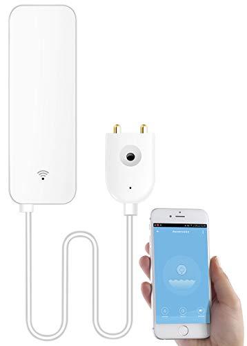 Luminea Home Control Wassersensor: WLAN-Wassermelder, externer Sensor, App, bis 2 Jahre Batterie-Laufzeit (Wasserwächter)