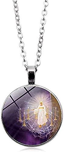 Yiffshunl Collar Moda Virgen Madre Bebé Collar Jesús Cristiano Católico Colgante Collar de Cristal religioso Jesús